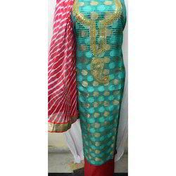Multicolor Munga Silk Gota Patti Dress Material