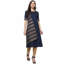 Yash Gallery Women's Cotton Gold Print A-Line Kurta