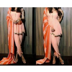 Chiffon Peach and Orange Ladies Stylish Suit, Dry clean