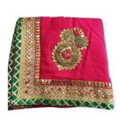 Ladies Zari Border Embroidery Georgette Saree, 5.5 m