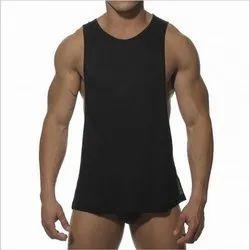 Mens Sleeveless Black Sports Vest
