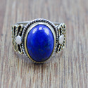925 STERLING SILVER AND BRASS JEWELRY LAPIS LAZULI STONE WHOLESALE RING WR-5837