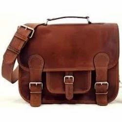 Brown DKJ Mens Designer Leather Bag