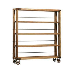 Wooden Brown Iron Wheels Reclaimed Wood Display Shelf