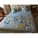 Block Printed Sky Blue Double Bed Sheet