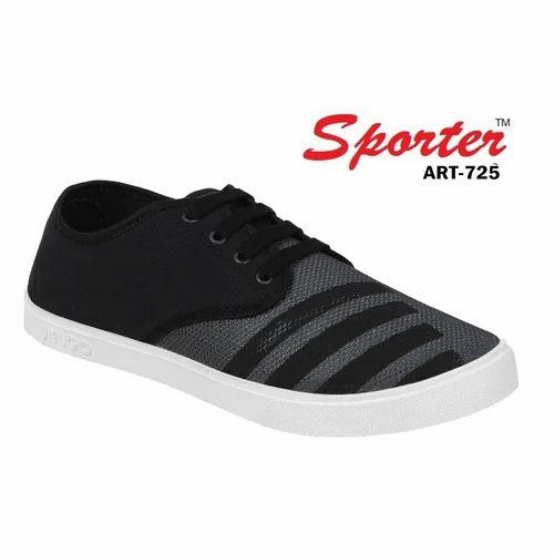 Sporter Men Black Canvas Sneaker Casual