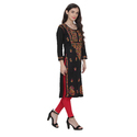 Lakhnawi Chikankari multi color hand embroidered long length kurti in Pure cambric cotton
