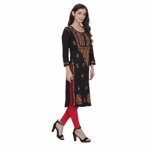 Lucknowi Chikankari Women Cotton Embroiderd Aari work Chikan Kurta Kurti