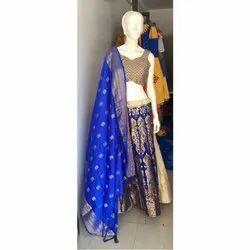 Blue And Golden Brocade Heavy Chaniya Choli