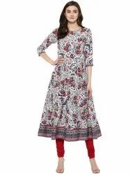 Ladies Printed Anarkali Cotton Kurti