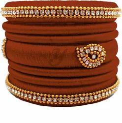 Brown Handmade Silk Thread Bangle Set