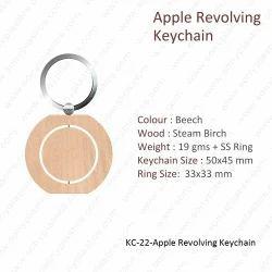 Wooden Keychain-KC-22-Apple Revolving Keychain