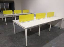 6 Seater Desking with Lacquered Screen