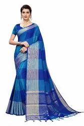 Cotton Silk Party Wear Blue Saree With Blouse Piece