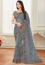 Smoke Grey Embroidered Net Saree