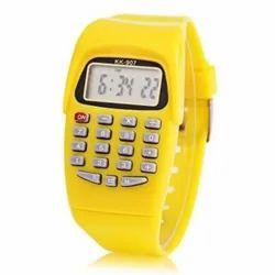 Yellow Digital Calculator Watch