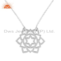 White Rhodium Plated Silver Designer Anahata Chakra Pendant