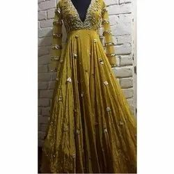 Party Wear Ladies Designer Embroidered Gowns S-XL, Packaging Type: Packet