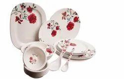Mehul 40 Pcs Melamine Dinner Set Design Gulmohar Standard Size.