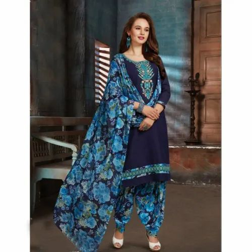 00563b13dc 3/4th Sleeves Party Wear Ladies Unstitched Banarasi Silk Suit, Rs ...