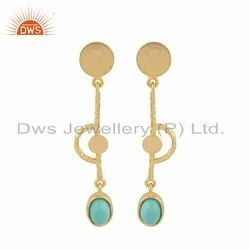 Yellow Gold Plated Silver Designer Arizona Turquoise Earrings