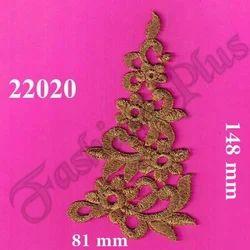 Flower Pattern Gold Zari Patch