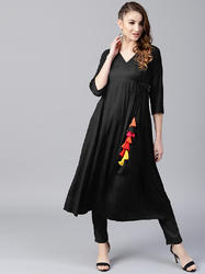 Stitched AKS Black Anarkali With Tassel