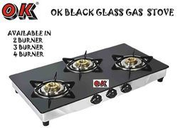 3 Burner Gas Stove Black Glass