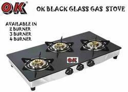 3 Burner Gas Stove Black Glass