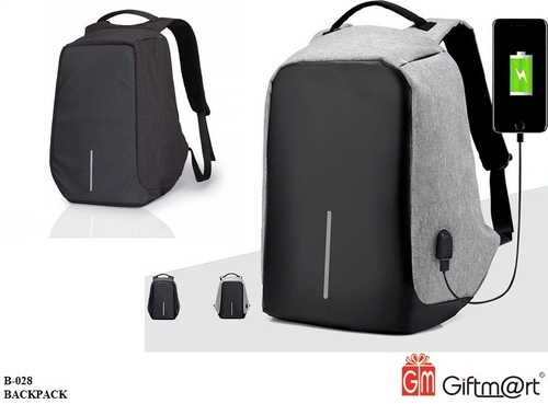 e4a8a46602 Grey   Black Nylon Anti -Theft Business Laptop Backpack with USB Charging  Point