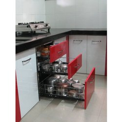 Red And White Stainless Steel Modular Kitchen Trolley