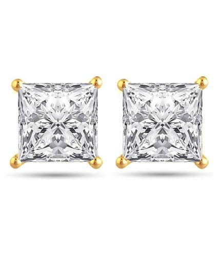 Fashion Frill Single Stone Square Shape Earring