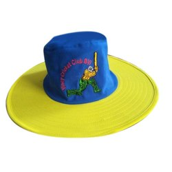 Blue,Yellow Embroidered Polyester Cricket Caption Hat