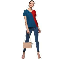 V Neck Crepe Top
