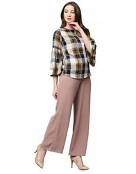 Women Beige Checked Straight Rayon Top