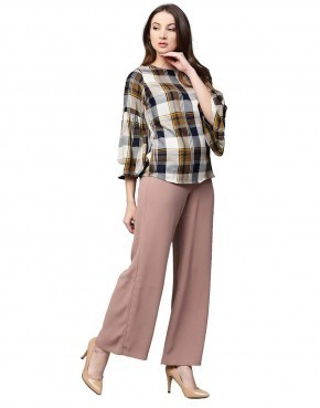 43ecff576841b Women Rayon Beige Checked Embroidered Straight Top