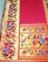 Silk Yeola Brocket Paithani, Hand Made, 5.5 M (separate Blouse Piece)