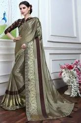 Moss Grey Fancy Party Wear Saree