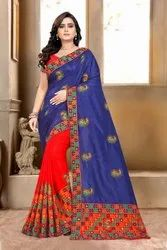 Serona Fabrics Sana Silk Half And Half Saree