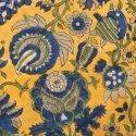 Yellow Rajasthani Floral Hand Block Printed Fabric