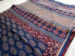 Party Wear Printed Pure Chanderi Silk Saree, 6 m (with blouse piece)