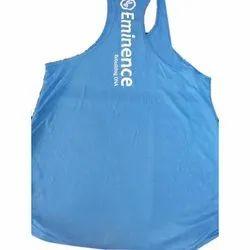 Cotton Blue Mens Gym Vest