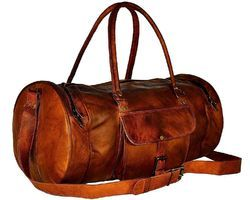 Vintage Goat Leather Duffel Bag Genuine Handmade Travel Gym Brown Duffle Luggage