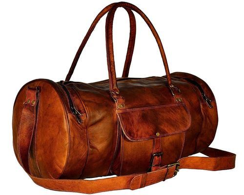Handmade Vintage Goat Leather Brown Luggage And Travel Duffel Bag ... 8a0f1bcafa