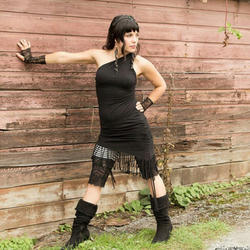 Party Wear Ladies Black Organic Clothing Dress