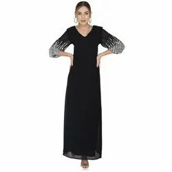 Black Polyester Georgette White Sunrise Embroidered Sleeves Maxi Dress