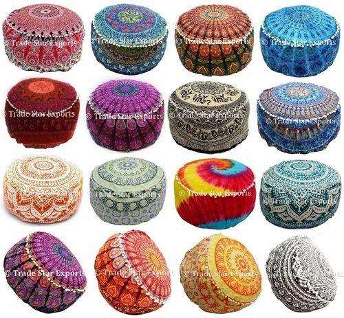 Round Printed Large Mandala Ottoman Pouf Cover
