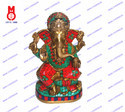 Lord Ganesh Sitting On Lotus Base W/Stone Statue