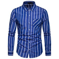 Stripped Collar Neck Mens Blue Shirts, Handwash