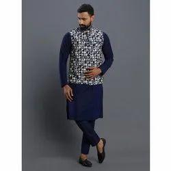 Mens Party Wear Kurta Pajama with Jacket, Size: S-XXL